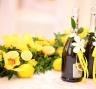 Оформление шампанского - лимонная свадьба