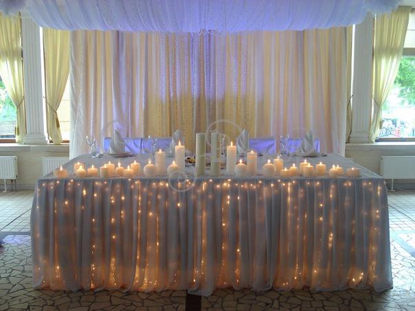 Оформление свадебного стола свечами