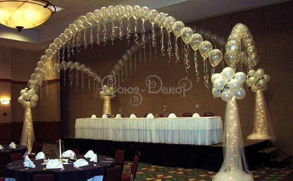 Арка из воздушных шаров - свадебное украшения зала